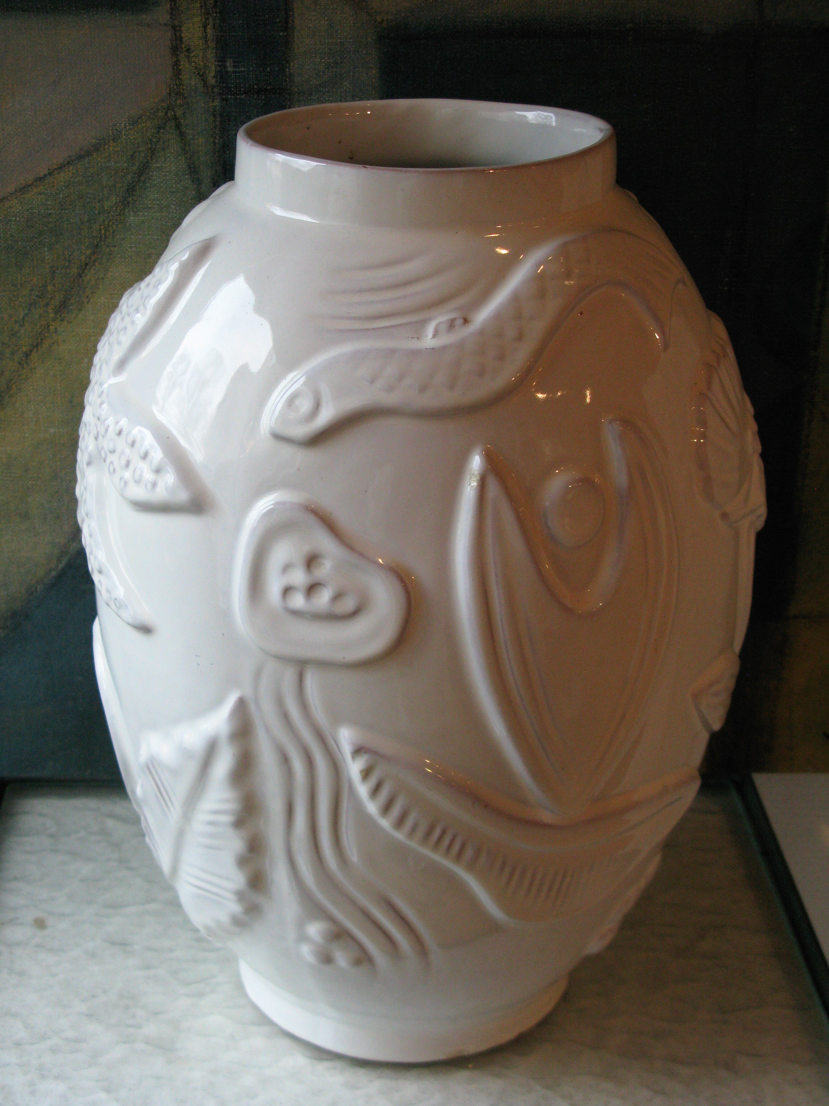 white shiny floor vase 208