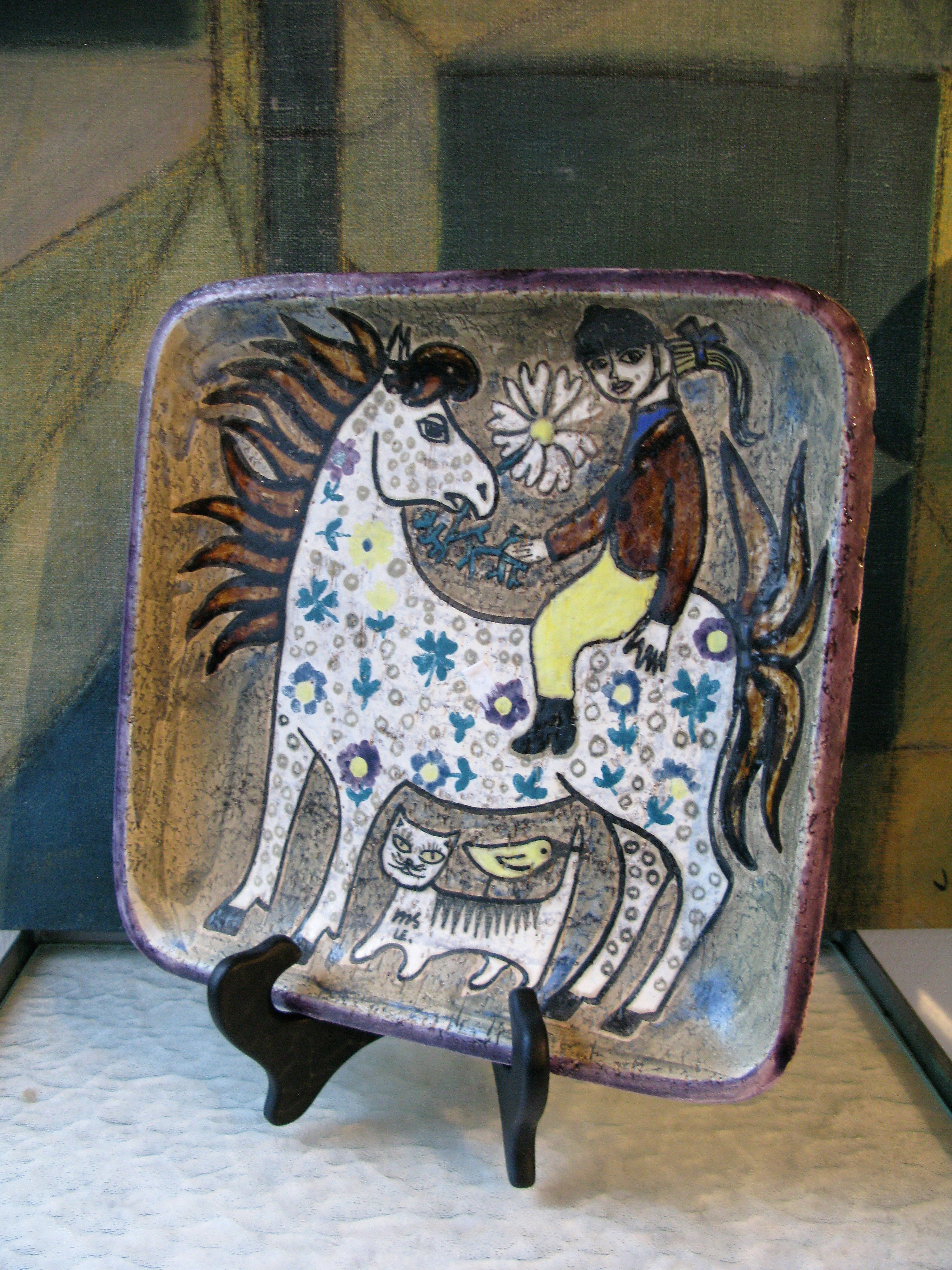 horse/cat/girl plate 4083