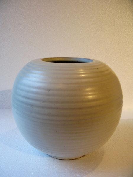 white globe vase