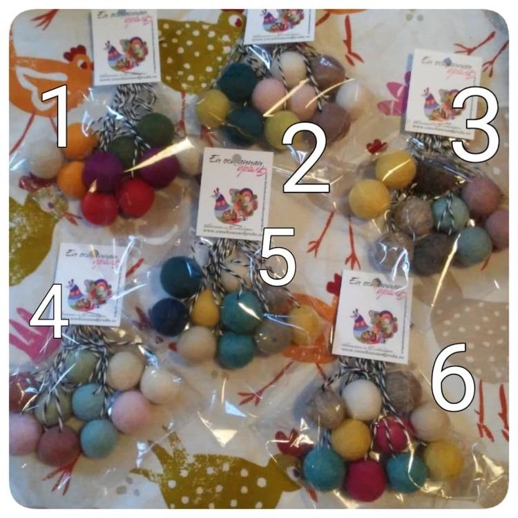 Tovade Ullbollar olika färger 10-pack PÅSK