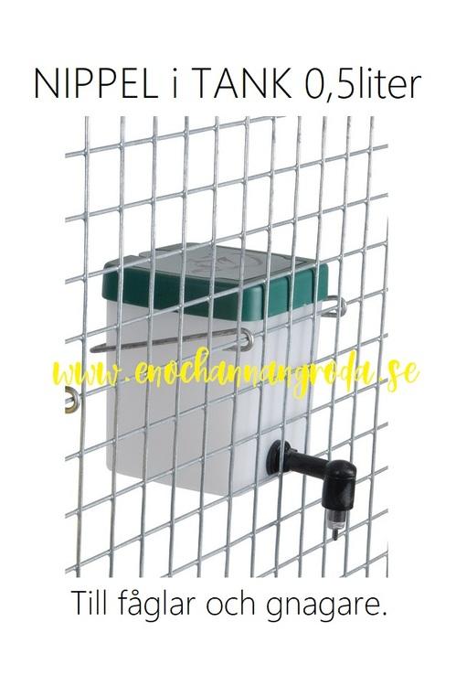 Nyhet! Svart eller vit NIPPEL i metall med 0,5 liters TANK till höns/gnagare
