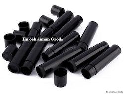 Hylsor till ditt egentillverkade cerat/läppbalsam/läppstift. svarta/clear/vita 10-pack