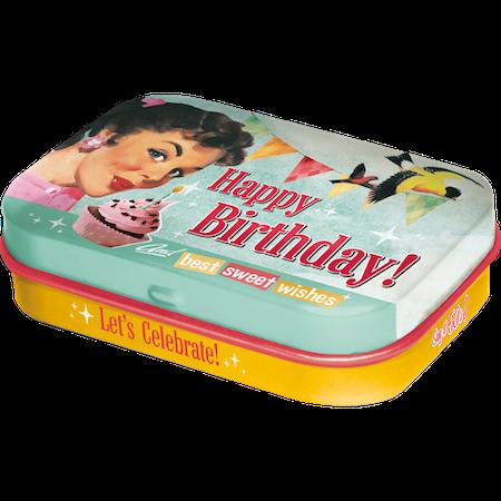 Plåtask med mintpastiller  Happy Birthday