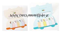 Kul BUSS Memo notes/stickers med djur Folkabuss
