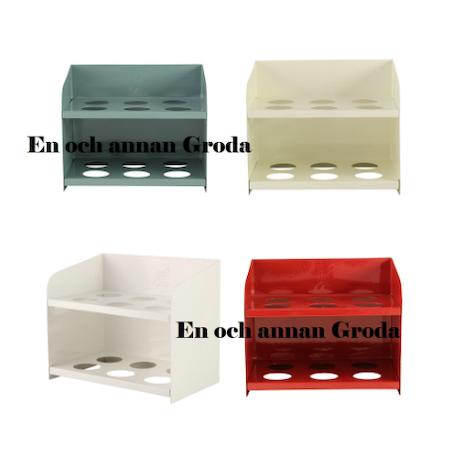 ÄGGHYLLA metall grön/kräm/röd/vit