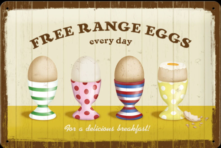 Free range eggs every day SKYLT 20x30cm