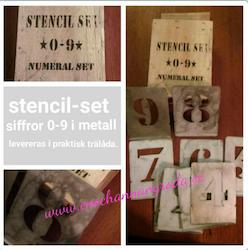 Stencil-set i metall, siffror 0-9 i träask