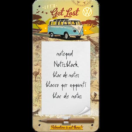 VW - LETS Get Lost Be Prepared to start your own adventure! METALLSKYLT/VYKORT/Kalender 10x14,5cm Buss Folka