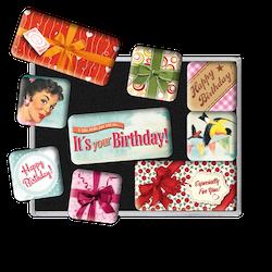 SET MAGNETER 9-pack Happy Birthday Nostalgic