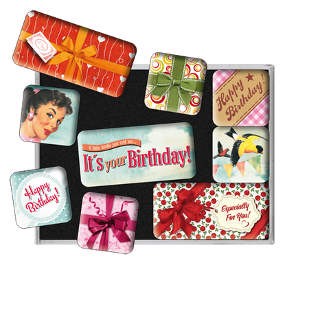 SET MAGNETER 9-pack Happy Birthday Nostalgic
