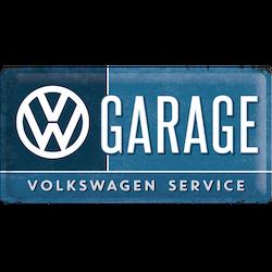Stor GARAGE  SERVICE VOLKSWAGEN METALLSKYLT 25x50cm