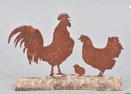 Hönsfamilj  rostig Höna, kyckling och tupp PÅSK