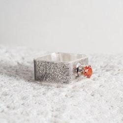MADE BY LEENA - Kubisk Zirkonia, silverring, kvadratisk