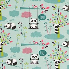 Pandor på grön botten