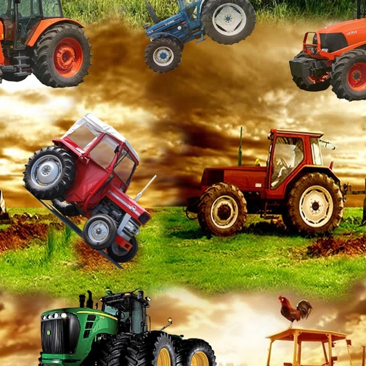 Traktorer i skymning