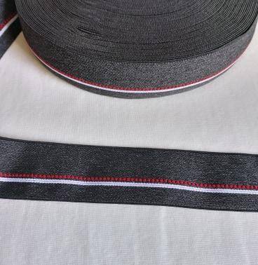 Resår - Mörkgrå med röd/vit detalj 40 mm