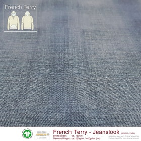 French Terry Jeanslook - Jeansblå