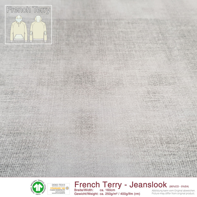 French Terry Jeanslook - Stengrå