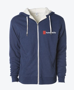 Unisex Sherpa French Terry Zip Hoodie | Navy