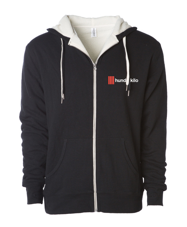 Unisex Sherpa French Terry Zip Hoodie | Black / Charcoal
