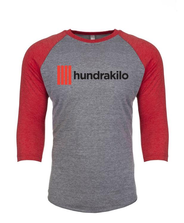 "Unisex TriBlend Baseball Jersey ""Hundrakilo""  Vintage Red / Premium Heather"