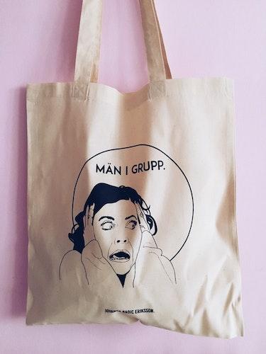 Män i Grupp Tote Bag, natural white