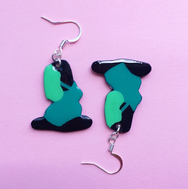 Yoga Earring, Blue/green