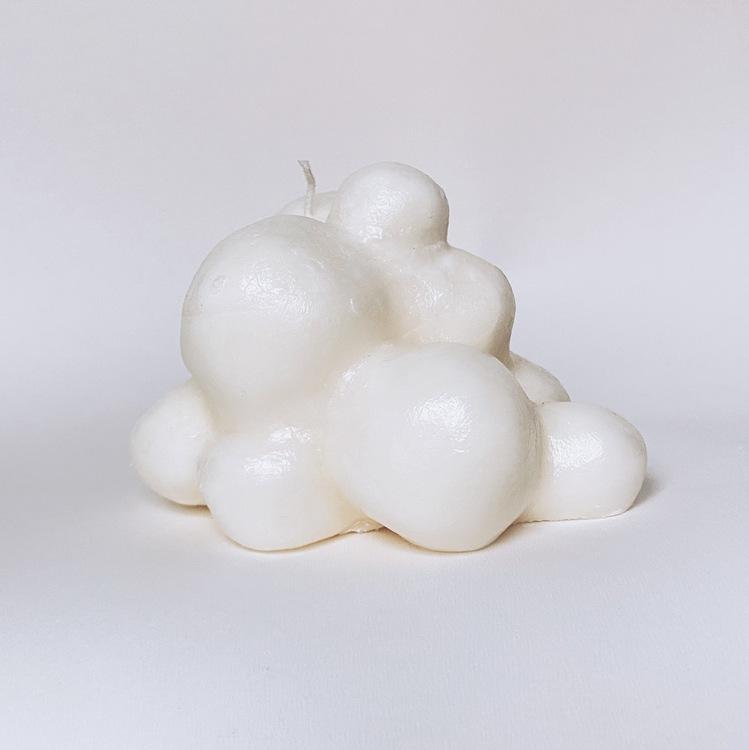 Candle cloud white, shiny