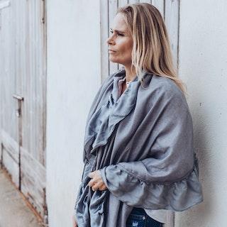 Cashmere shawl silk frill grey