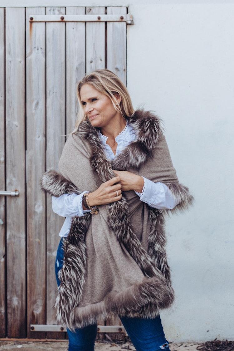 Silver fox fur shawl