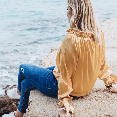Silk blouse gold
