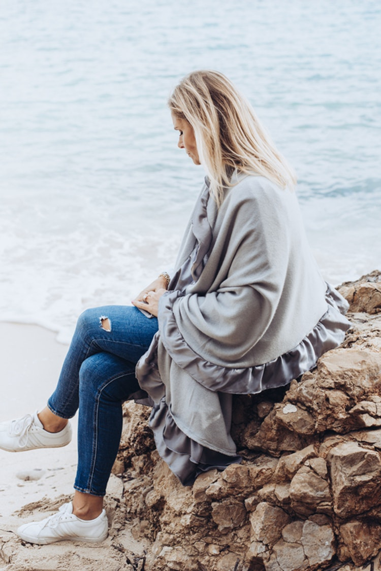Silk & cashmere shawl premium