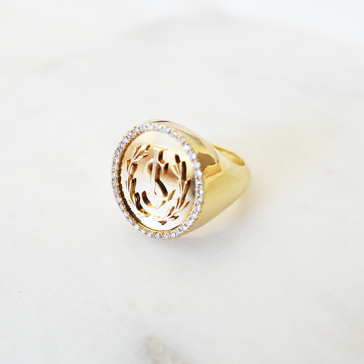 Lundsberg monogram diamond ring