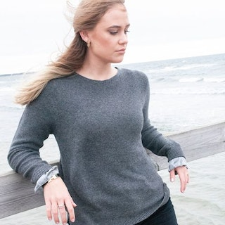 Cashmere sweater silk detail grey, size M