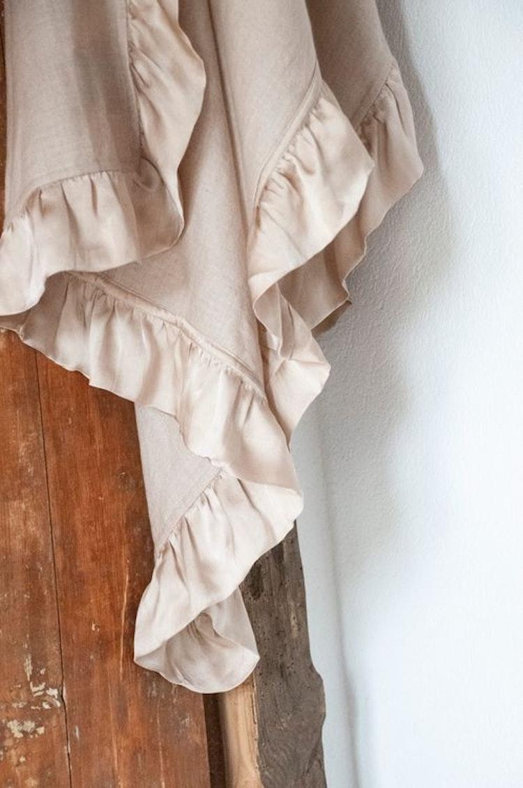 Silk frilled woven cashmere shawl beige