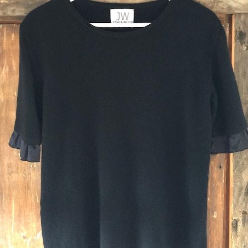 Cashmere sweater, short sleeve,  silk detail black