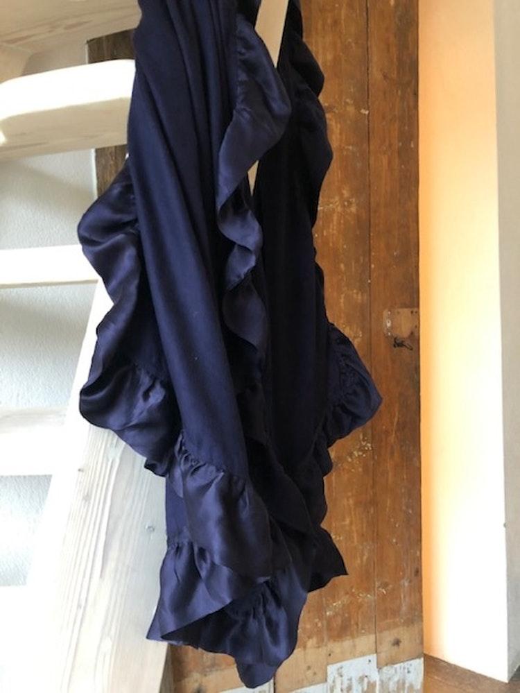 Silk frilled woven cashmere shawl blue