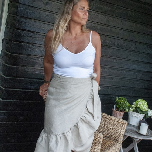 Linen skirt beige