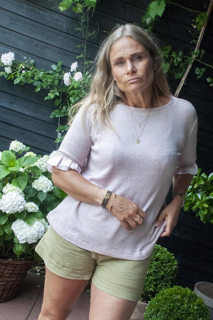 Cashmere/silk mix, short sleeved, sweater, pink