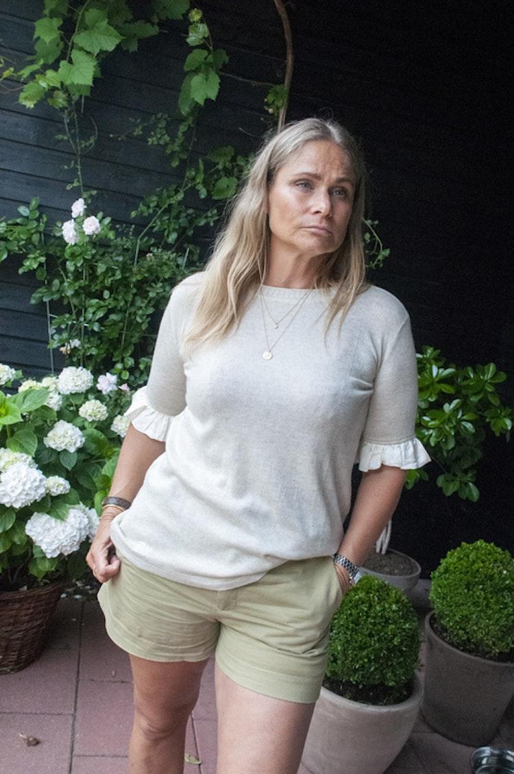 Cashmere/silk mix, short sleeved, sweater, cream