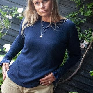 Cashmere/silk mix, sweater, navy