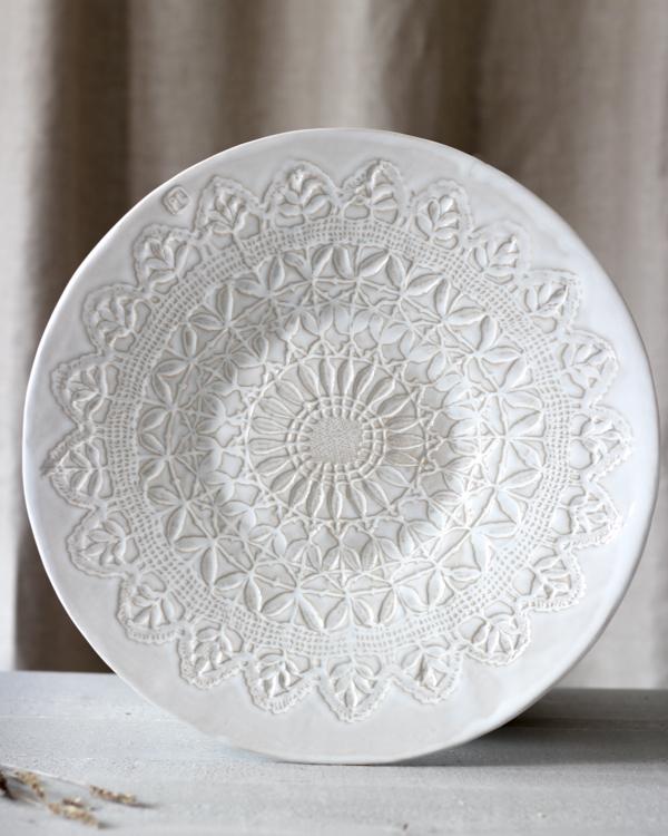 Ingrid stort keramikfat med vit glasyr