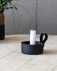 CANDLEHOLDER BLACK WITH LEATHER DETAIL