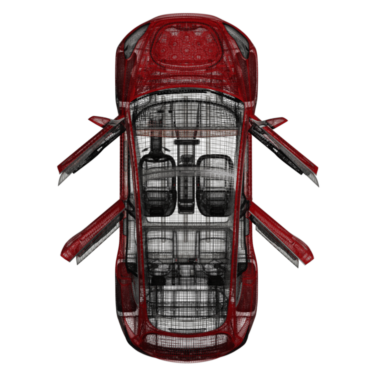 Model 3 soft close + automatiska handtag (4 dörrar)
