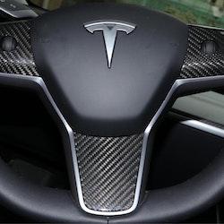 Model 3 kolfiber detaljer för ratten blank/matt