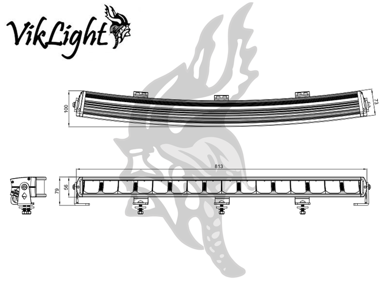 """Viklight Tellus 30"""" curved, E-märkt LEDramp"""