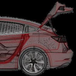 Model 3 eldriven trunk + fotsensor