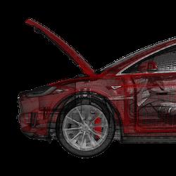 Model X eldriven frunk