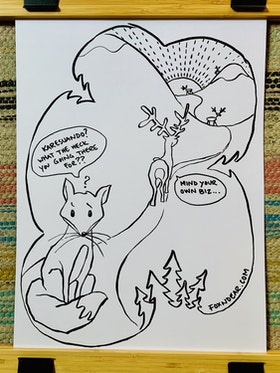 "Art card Fox n' Dear ""Karesuando"""
