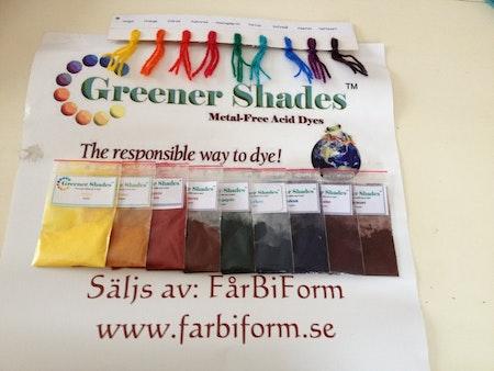 Greener Shades startpaket, metallfria syrafärger för ull
